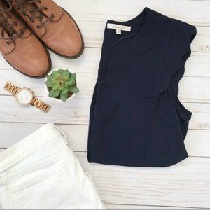 Tops - Stitch Fix 41 Hawthorn Blouse Navy Scallop